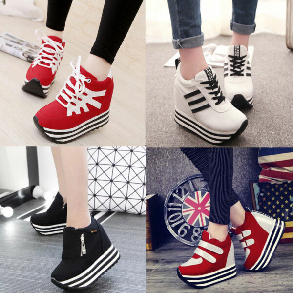 New Womens/Students Lace Up High Platform Wedge Sneakers heels Casual shoes +40