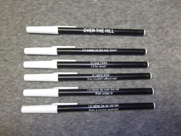 Personalized HAPPY 60th OVER THE HILL party favor fun pens