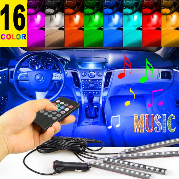 4PCS 12 LED Car Interior Atmosphere Neon Lights Strip Music Control+IR Remote US
