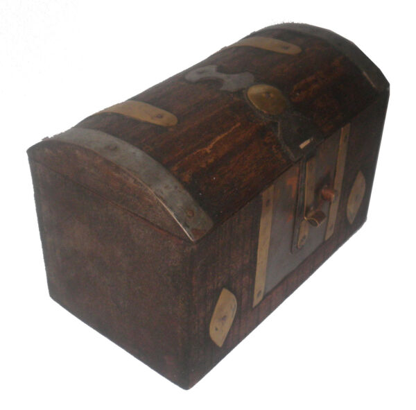 AFRICA TUAREG SAFE BOX CHEST WOOD IRON AND BRONZE WITH BUTTON