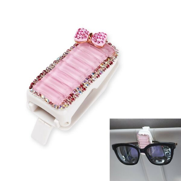Car Visor Sunglasses Clip Pink Glitter Crystal Holder Auto Accessories for Girls