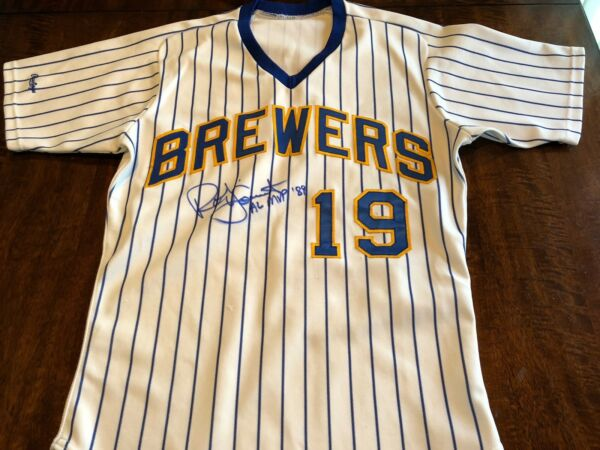 Brewers Robin Yount 1989 MVP Game Worn Used & Signed Baseball Jersey MEARS LOA
