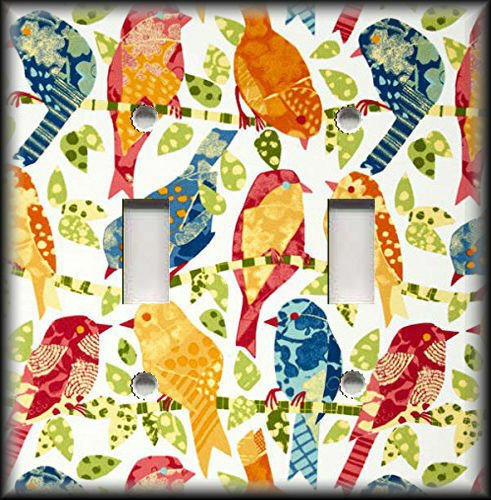 Metal Light Switch Plate Cover Brightly Colored Birds Design Bird Home Decor