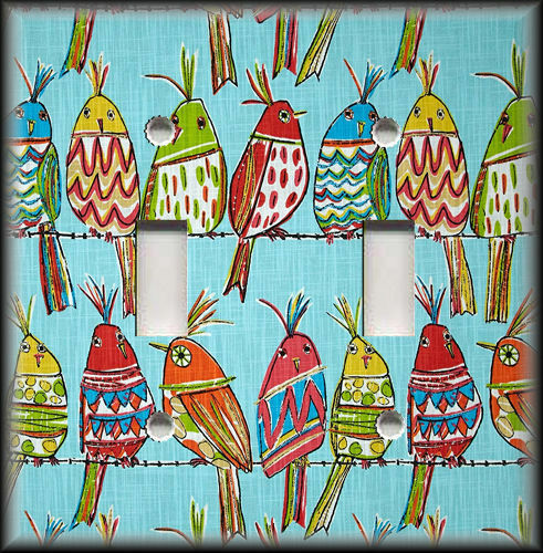 Metal Switch Plate Cover Bright Colorful Birds Design Birds On A Wire Decor