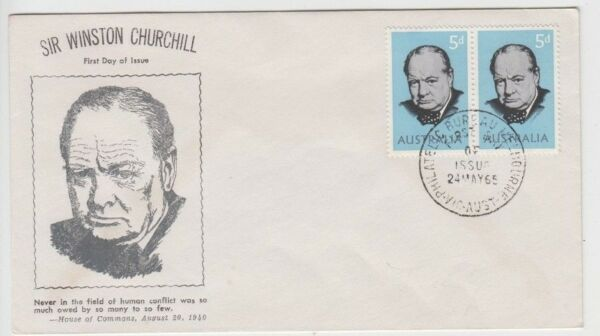 Stamps Australia 5d Churchill pair on unknown producer cachet FDC uncommon