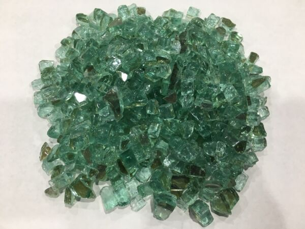 REFLECTIVE Sage Green 3 8quot; 1 2quot; FIREGLASS Fireplace Glass FirePit Gas Logs