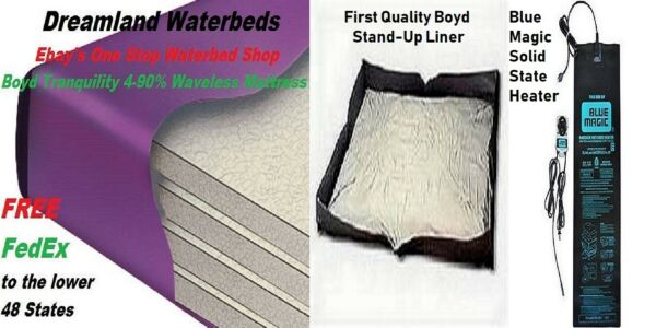 KINGCAL K 90% Waveless Boyd Waterbed Mattress+Solid State Heater+Stand-Up Liner
