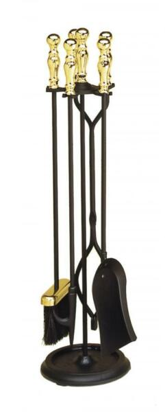 Achla Minuteman Brass Plated and Black 4 - Fireplace Tool Set X830941