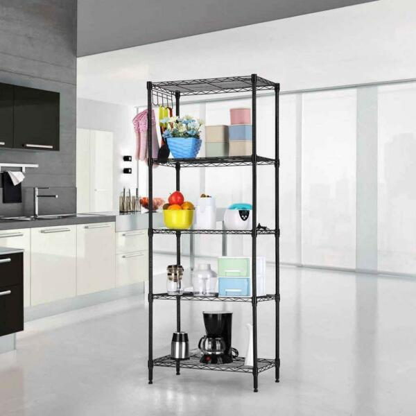 Black 5-Tier Layer Shelf Adjustable Wire Metal Shelving Rack Heavy Duty Garage