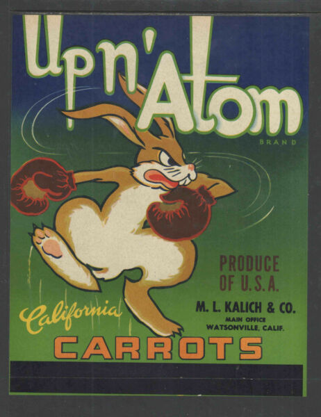 UP N' ATOM CARROTS WATSONVILLE CALIFORNIA GR8 GRAPHICS CRATE LABEL LARGE 7