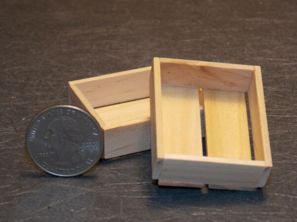 Dollhouse Miniature Wood Unfinished Crate Set 1:12 Inch Scale G48 Dollys Gallery