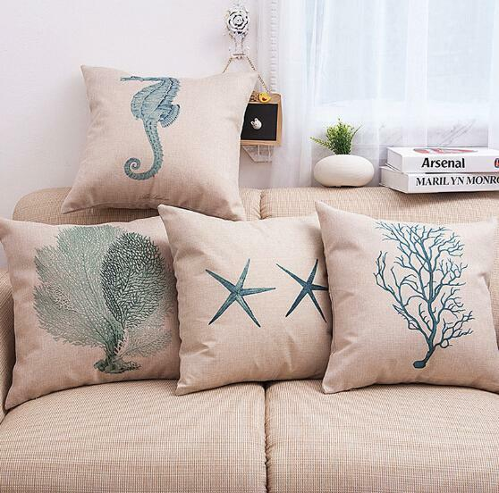 Ocean Beach Pillow Case Cotton Linen Cover Sofa Waist Cushion Cover Case Q $3.64
