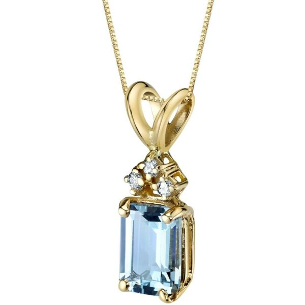 14 Kt Yellow Gold Emerald Cut 1.00 cts Aquamarine Diamond Pendant