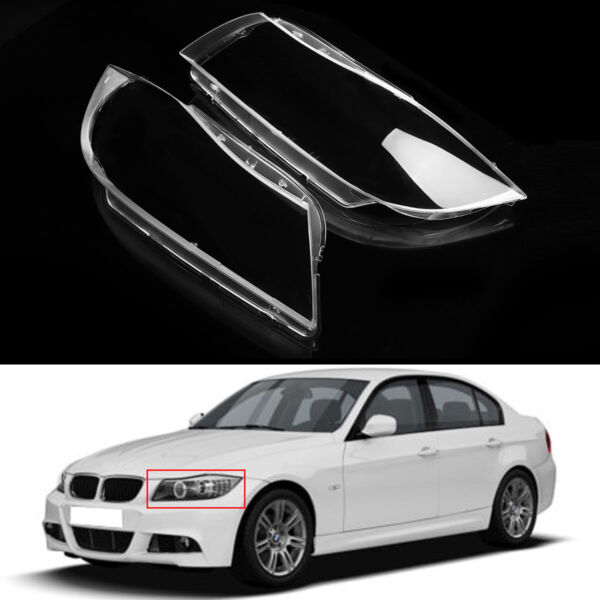 For BMW 3 E90  E91 Xenon Pair Front Headlight Headlamp Plastic Clear Lens Cover