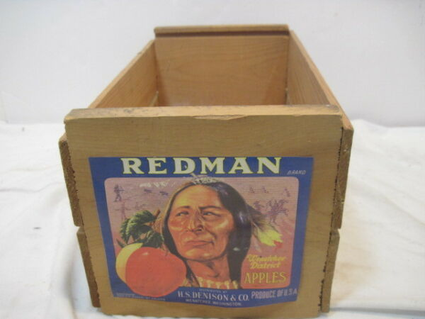 OLD WOOD REDMAN WENATCHEE APPLE H.S. DENISON & CO. PRODUCE CRATE BOX ADVERTISING