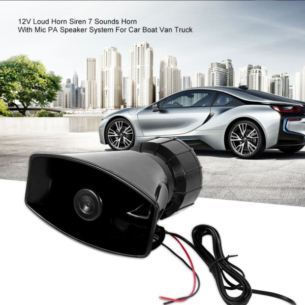 US STOCK 100W 7 Tone Sound Car Police Siren Horn With Mic PA Speaker System
