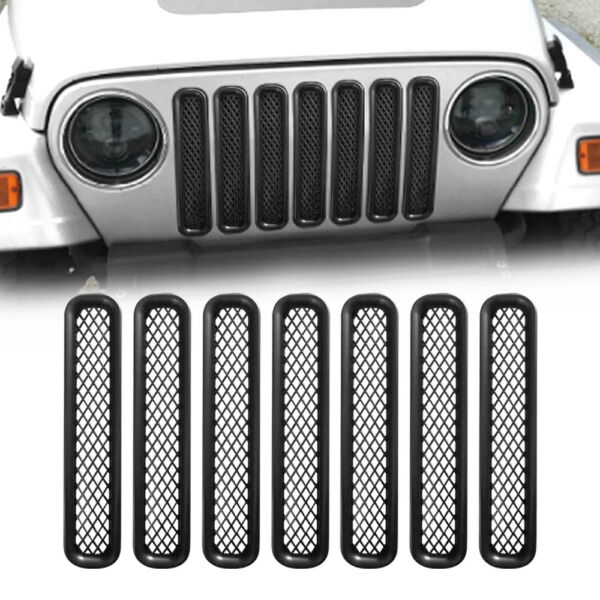 7PC Grille Inserts Matte Black Grill Guards Mesh for Jeep Wrangler TJ 97-06