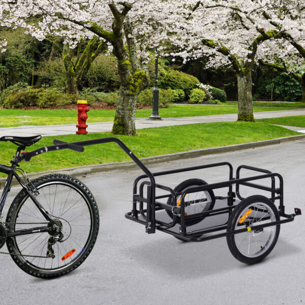 Folding Bicycle Bike Cargo Storage Cart and Luggage Trailer with Hitch Black $129.99