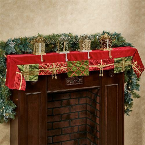 Christmas Present Mantel Scarf Red 14 x 72