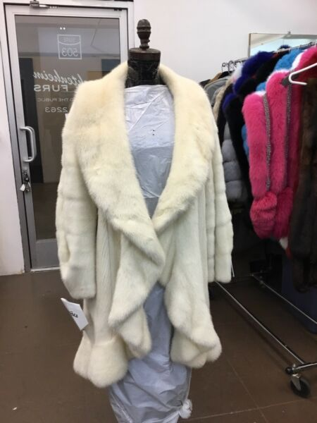 YVES SAINT LAURENT YSL IVORY CREAM MINK SWING RUFFLED MINK COAT AMEN WARDY