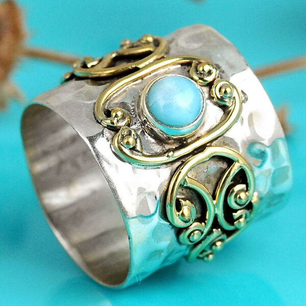 Larimar Sterling Silver 925 Wide Band Ring with Blue Stone Two Tone Size 7 8 9