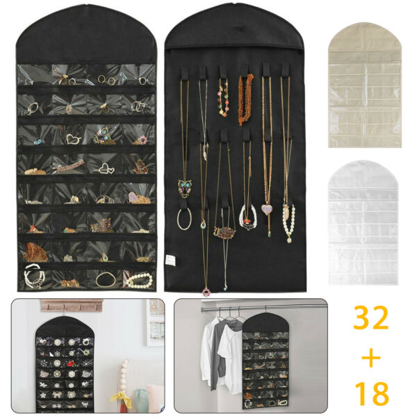 Hanging Jewelry Organizer Bracelet Earring Necklace 32 Pockets 12 Hook Storage