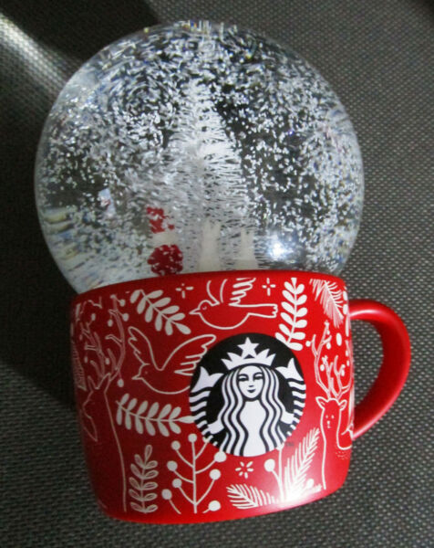 2018 Starbucks Coffee Christmas tree Snow Globe santa red mug  gifts with sku