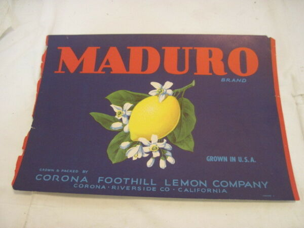 OLD PAPER CRATE LABEL MADURO LEMONS FRUIT PRODUCE ADVERTISING LABEL