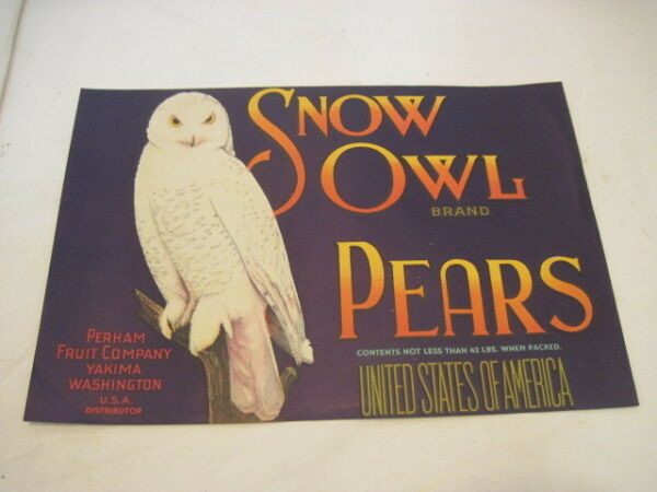 OLD PAPER CRATE LABEL SNOW OWL PEARS FRUIT PRODUCE ADVERTISING LABEL