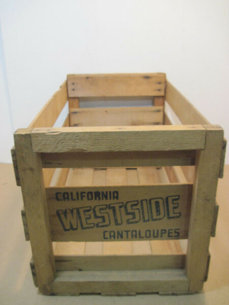 OLD WOOD-WOODEN WEST SIDE CANTALOUPE PRODUCE MELONS CRATE BOX ADVERTISING