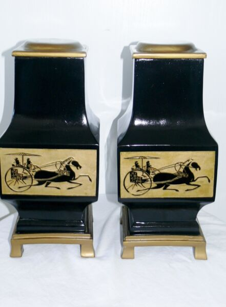 Pair of Vintage Chinese Black Lacquer Lidded Vase Box Urn on Stand Chariot Horse