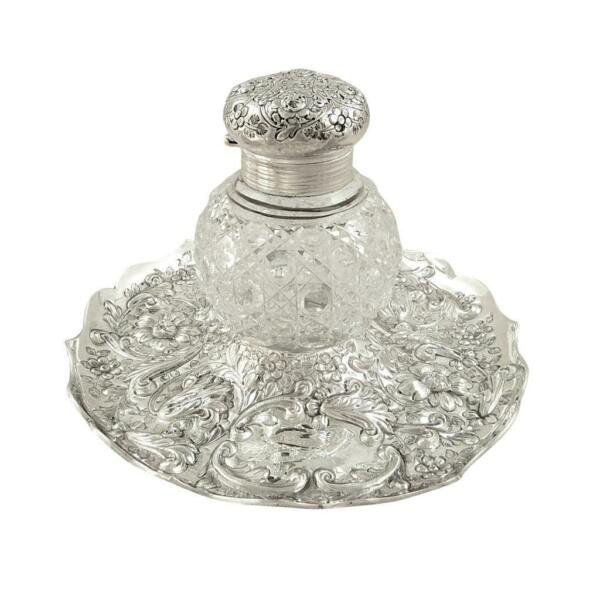 ANTIQUE VICTORIAN STERLING SILVER & CUT GLASS INKWELL on STAND 1889