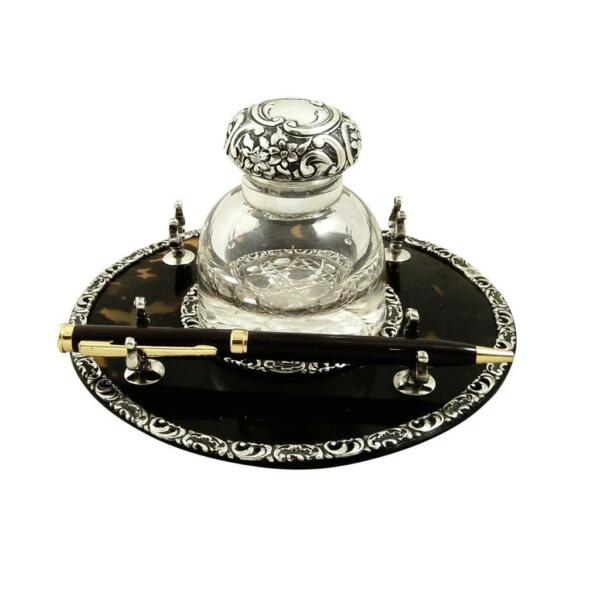 ANTIQUE VICTORIAN STERLING SILVER & SHELL INKWELL on STAND 1899