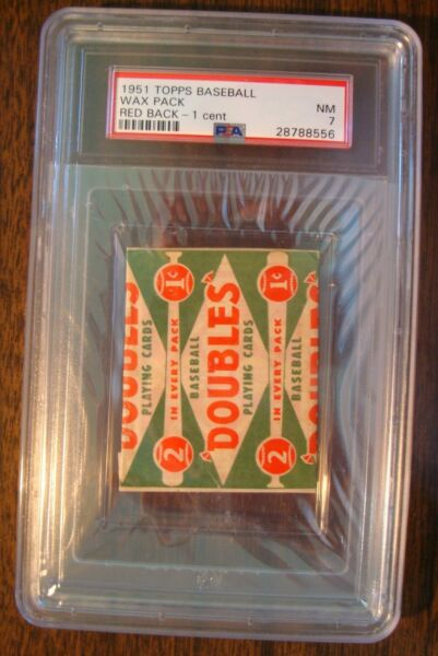 1951 TOPPS BASEBALL WAX PACK RED BACK - 1 CENT PSA NM 7