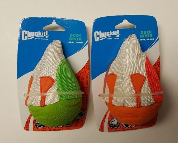 (Set of 2) Chuckit! Large Duck Diver Fetch Toys In Green And Orange $13.99