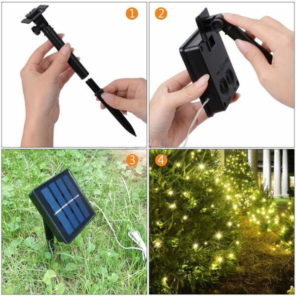 Solar power 10M 33FT 100 LED Copper Wire Outdoor Waterproof String Fairy Light