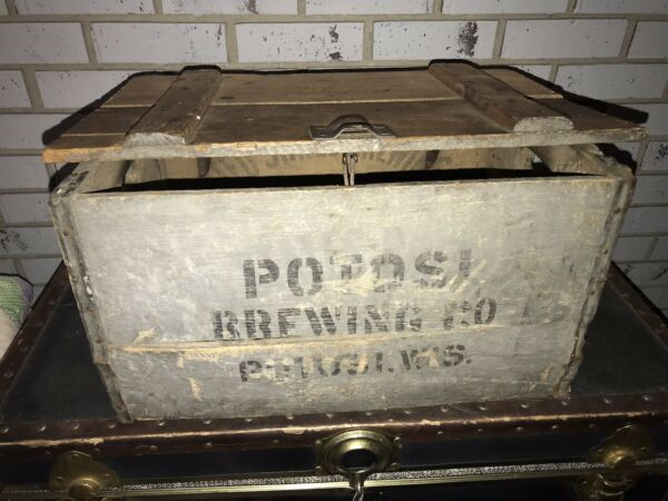 RARE Hinged Antique POTOSI BEER BREWING CO. Vintage Chicago Boards Wood Crate