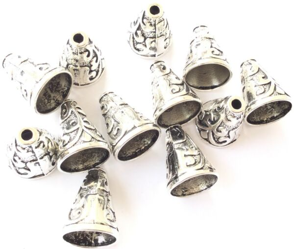 12PCS Fancy floral Decor Antique Silver Bead Cones Jewelry Supplies $6.99