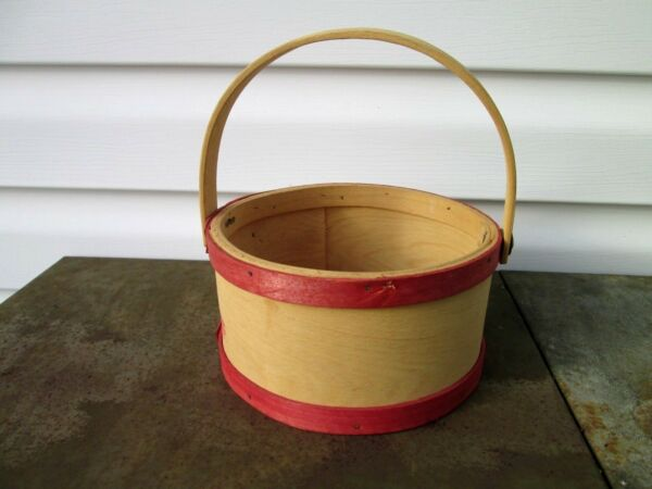 bent wood round wood basket box handle red trim natural pantry shaker primitive