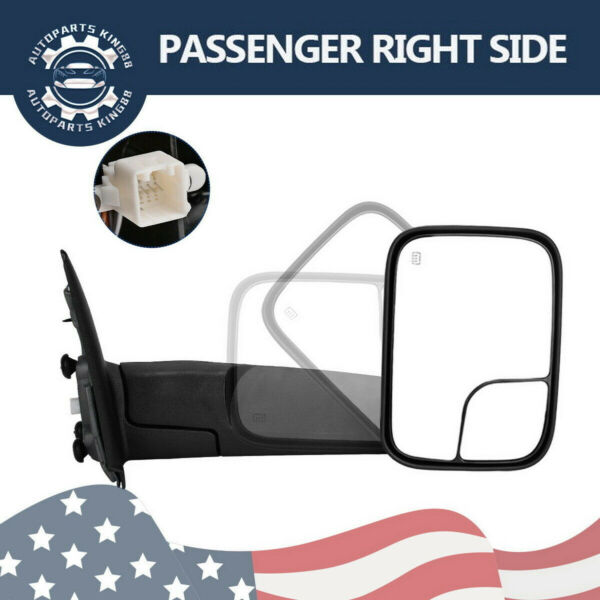 Passenger Right for 02-08 Dodge RAM 1500 03-09 2500 3500 Tow Mirror Power Heated
