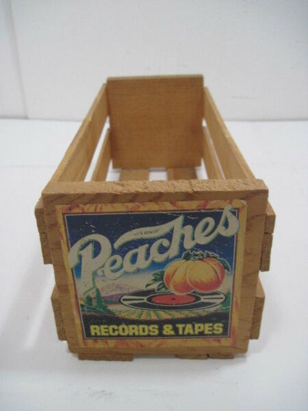 OLD WOOD SMALL PEACHES RECORDS AND TAPE CRATE STORAGE ADVERTISINF 12quot;X5quot;X4quot;