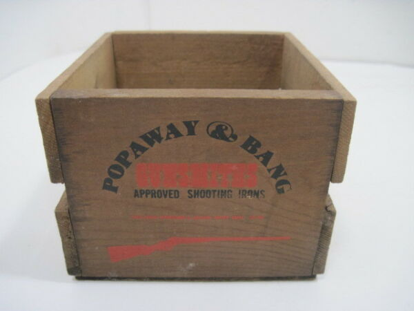 OLD WOOD WOODEN POPAWAY amp; BANG GUNSMITH#x27;S APPROVED SHOOTING IRONS CRATE BOX