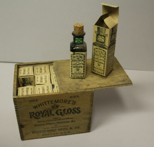 Antique Old Stock Whittemore's Royal Glass Shoe Polish in Wooden Box