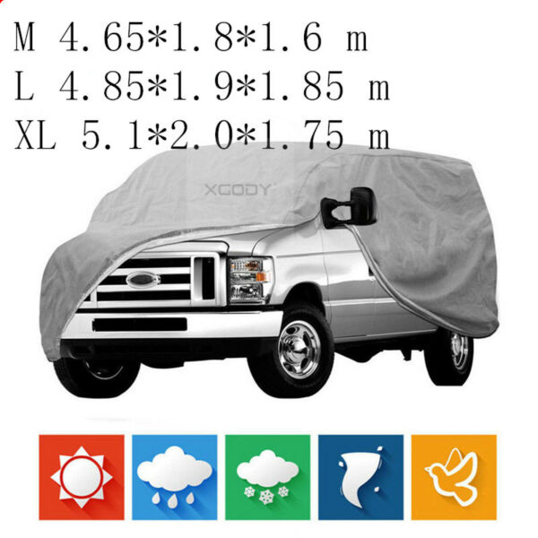 M-XL WaterProof Full Car Cover For SUV Van Truck In Outdoor Dust  Ray Rain Snow