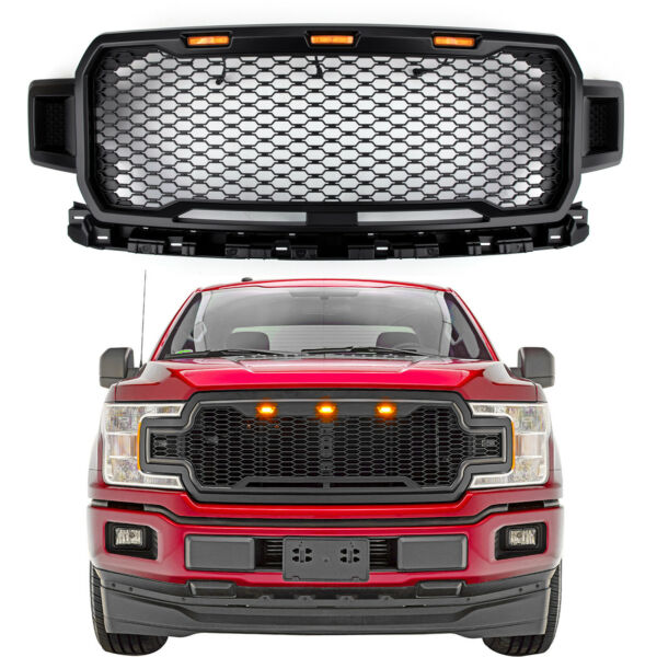New Black Grill Grile LED Honeycomb Raptor Style For F150 2018-2019 TT