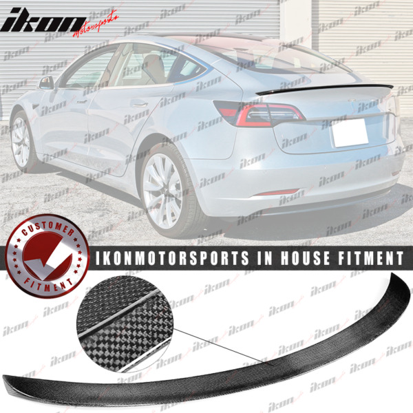 Fits 17-19 Tesla Model 3 IKON Style Trunk Spoiler - Real Carbon Fiber