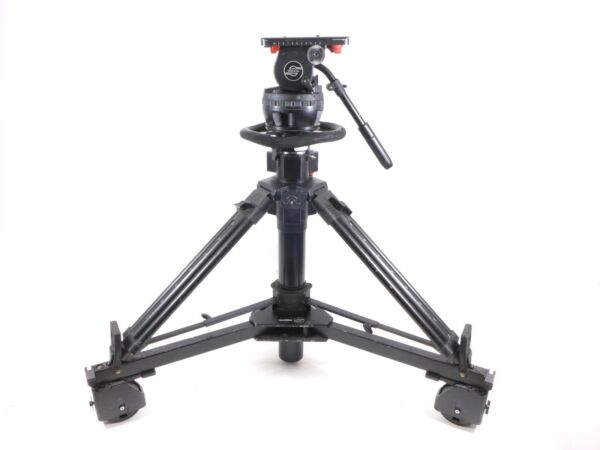 Sachtler Video 25 Plus Pedestal Aluminum Tripod Head 25P and dolly