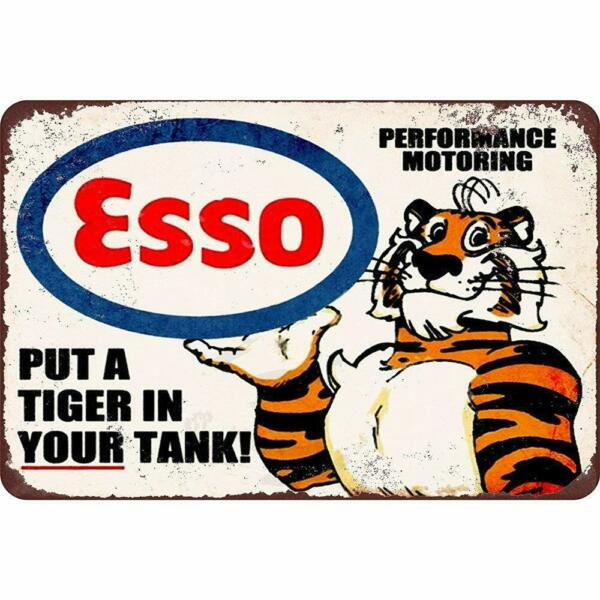Esso Gas Oil Put a Tiger in Your Tank Metal Tin Decorative Garage Sign 12