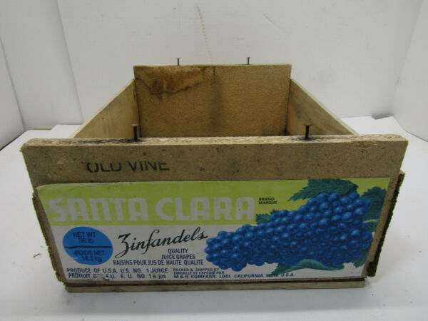 B OLD WOOD-WOODEN SANTA CARA ZINFANDEL GRAPE PRODUCE SOLID CRATE BOX STORAGE