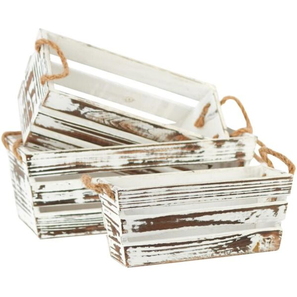 Whitewashed Wooden Crates with Rope Handles Set of 3